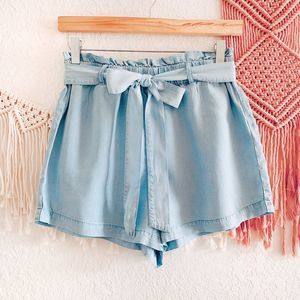 Charlotte Russe Paper Bag Chambray Shorts